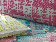 """""""Hello, North Pole? Yeah hi, it's frankie. Scratch everything we've put on our Christmas list. We want every single thing from Charlotte Lancelot's cross-stitch shop.""""  http://www.frankie.com.au/blogs/interiors/cross-stitch-gan-rugs-and-cushions"""