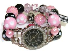 Shabby Chic Pink and Black Chunky Beaded Watch by BeadsnTime