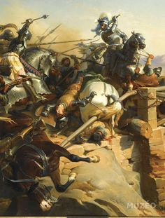 """Bayard, """" the knight without fear and reproach """" is defending the bridge on the Garigliano in 1503 against the Spanishs."""