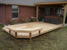 Wooden Deck with Bench---love the seating! oh the possibilties!