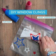 Diy window clings - ziploc website http://www.ziploc.com/en/inspiration/home/crafts/glittery-snowflake-window-clings                                                                                                                                                      More