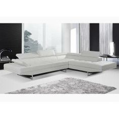 Nova White Sectional - Overstock Shopping - Big Discounts on AC Pacific Sectional Sofas White Sectional, White Sofas, Leather Sectional, Sectional Sofas, Couches, Large Home Office Furniture, Living Room Furniture, Deep Sofa, Best Sectionals