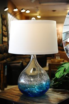Oceana Art Glass Lamp by Stein World.  Simply beautiful, clear to blue ombre glass base with large white shade.