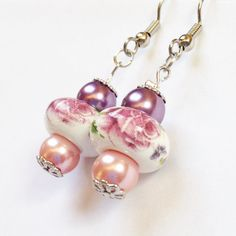 Floral Print Earrings in Pink and Purple with by JewelsofJane, $13.00