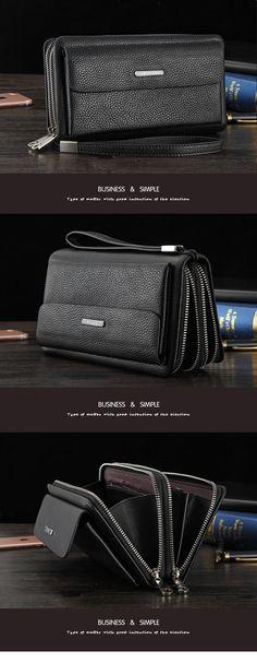 44ae0f8e6c Aliexpress.com   Buy YINTE Men Wallet Double Zipper Genuine Cow Leather  Clutch Wallet Purse