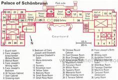 Floor plan of Schonbrunn palace, showing Sisi's bedroom.