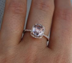 2.76ct  Cushion Peach Champagne Sapphire 14k rose gold diamond ring  Engagement Ring on Etsy, $3,000.00