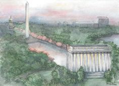 Lydia Marie Elizabeth Lincoln Memorial and Washington DC mall at Sunrise  A personal Commission.