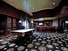 Game Room with bar -- Note the table: Brunswick Monarch (RHM). Home Theater Basement, Man Cave Basement, Home Theater Rooms, Home Theater Design, Basement Ideas, Man Cave Furniture, Resin Patio Furniture, Man Cave Designs, Game Room Bar