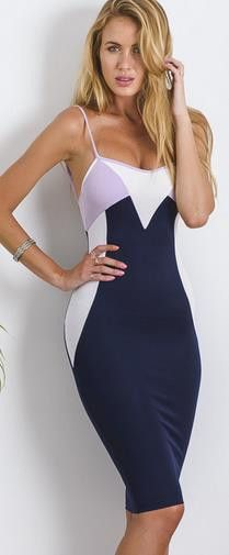 Spaghetti Strap Contrast Color Bodycon Knee-length Sleeveless Backless Dress