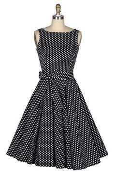 Vintage Boat Neck Polka Dot Print Bow Sleeveless Rockabilly Dress (AS . - Evening Dresses and Fashion 50s Dresses, Pretty Dresses, Vintage Dresses, Beautiful Dresses, Vintage Outfits, Fashion Dresses, Vintage Fashion, Vintage Clothing, Dresses Online