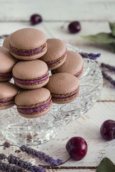 Chocolate Cherry Curd Macarons
