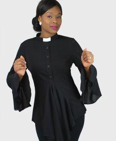 Esther Clergy Blouse Black Close up Sarah 2