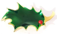 Cerrito Enamel Christmas Holly Leaf Pin Brooch Green Red Berry Gold Tone 2 Inch