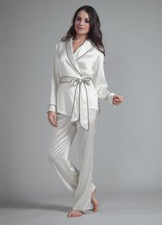 Fold-Over Trim Silk Pyjama Set