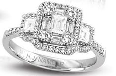 Would love to get a big ring like this for an anniversry ring! H.J. Namdar Diamond Ring - White Gold Emerald Cut - baguette and round side stones - 0.95 twt - $2,999