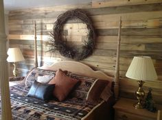Turned out incredible, thanks for sharing Janelle! Stain Pine, Blue Stain, Planking, Plank Walls, Side Wall, Diy Bedroom, The Incredibles, Interiors, Projects