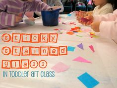 sticky stained glass: put large piece of contact paper sticky side up on table and let kids place scraps of tissue paper on it
