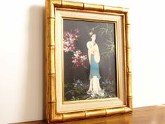Vintage faux Bamboo Magazine Rack | Vintage Chinoiserie Painting with Faux Bamboo Frame