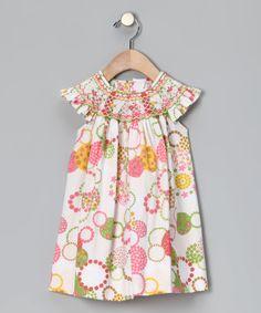 Pink & Green Circles Angel-Sleeve Dress #zulily #darling
