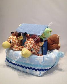 Noah's ark diaper cake! CUTE baby shower gift! 