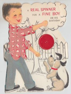 Vintage Fuzzy Puppy and Boy With Spinner Birthday Greeting Card