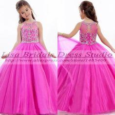 Vestido de Festa Infantil rosa da menina de flor vestidos Pageant vestidos para as meninas 2014 Vestido de Dama de Honra de criança