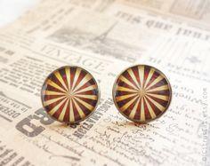 Brown stripes stud earrings by CitrusCat on Etsy