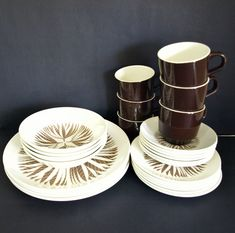 Crown Lynn Chateau Brown Dinnerware Set - Vintage Kelston Ceramics Dinner Setting - 26 Pieces - Made in New Zealand