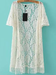 SheIn offers Beige Short Sleeve Fringe Lace Cardigan Kimono & more to fit your fashionable needs. Kimono Fashion, Boho Fashion, Fashion Outfits, Womens Fashion, Fast Fashion, Mode Kimono, Kimono Style, Lace Cardigan, Mode Hijab
