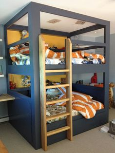 Bedroom, Boys Bunk Beds For Kids Ideas: Boys Bunk Beds: Build Comfortable Impression in Boys' Room