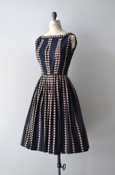 Very Audrey a-line skirt polka dot line navy blue dress.