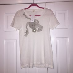J.Crew Embellished T-Shirt Lightweight, soft t-shirt by J.Crew with ribbon and gem detailing. Brand new! Never worn! J. Crew Tops Tees - Short Sleeve