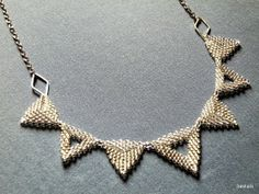 Geometric Necklace Spiky Triangles Beadwoven Silver by SashaSi