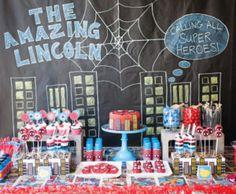 spiderman comic book birthday party dessert table