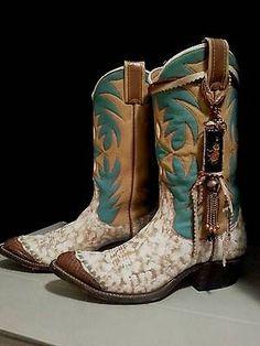 Hand Painted Vintage Nocona Cowboy Boots Sz 6.5 Turquoise White & Tan