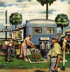 "Giclee Print: ""Trailer Park Garden"" Saturday Evening Post Cover, February 1952 by Stevan Dohanos : Vintage Rv, Vintage Caravans, Vintage Travel Trailers, Retro Trailers, Airstream Trailers, Classic Trailers, Vintage Florida, Camping Trailers, Vintage Vibes"
