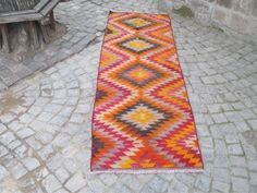 "50 % OFF! HANDMADE TURKISH KILIM RUNNER, 270 x 83 cm (106"" x 32.6"")"