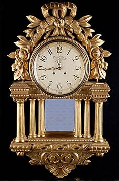 Swedish Antique Giltwood Clock with Mirrored Centerpiece