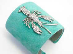 #OKLsummer Turquoise Lobster Bracelet  Crystal and Silver -- for your summer ensemble, a lobster of the blingtastic variety.
