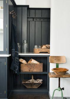 Shaker Kitchen Brochure | deVOL Kitchens  cuisine noir et blanc bois caisses vin chaise vintage industriel