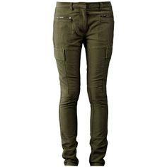 3.1 Phillip Lim Skinny Cargo Pant ($94) ❤ liked on Polyvore featuring pants, bottoms, jeans, calças, brown pants, cargo pants, zipper pocket pants, cotton cargo pants and brown cargo pants