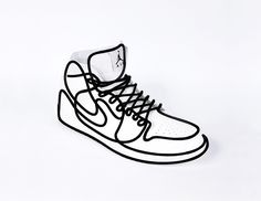 the single line application creates the illusion of wearing a piece of figurative art instead of a shoe.
