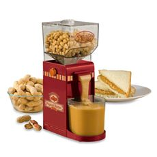 Nostalgia Electrics™ Peanut Butter Maker. We go through a lot of  peanut butter. This might be fun. Would it be one of those things that are worthless once the novelty wears off? I might look into how much peanuts are by the pound to see if this product is a money saver or just a novelty.
