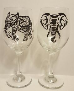 Extra large white wine 20 oz. glasses...set of 2....each glass has a black vinyl tribal elephant by KimmsHomeDecor on Etsy