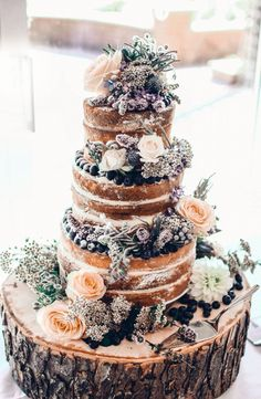 Cake I made for Matt and Narumi's wedding. Bottom tier: Vanilla sponge with cream cheese and blackcurrant filling; Middle tier: Banana cake with cream cheese and sliced banana filling. Top tier: Dairy and gluten free lemon cake with a coconut and lemon frosting.