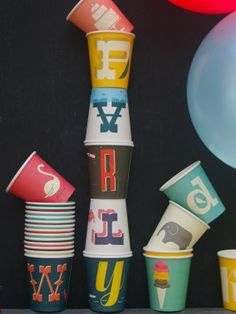 Vintage ABC Party Cups