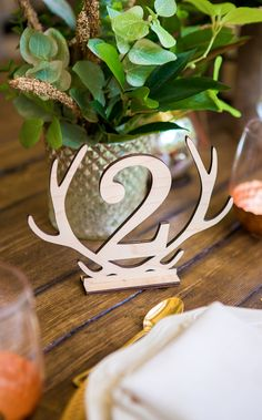 Find Your Wedding Style - Rustic chic Antler Table Numbers are wooden accents that you are sure to adore! // Artisan Wedding Decor, Gifts & Accessories by www.ZCreateDesign.com or Shop ZCreateDesign on Etsy by Clicking Pin