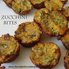 Zucchini Bites - Chocolate Chocolate and More! I better get a loty of zucchini from the garden so i can try these. Low Carb Recipes, Cooking Recipes, Healthy Recipes, Zucchini Bites, Bacon Zucchini, Fried Zucchini, Healthy Zucchini, Zucchini Cupcakes, Good Food