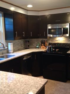 Finished Kerri Bousquet Java Gel Kitchen Cabinets